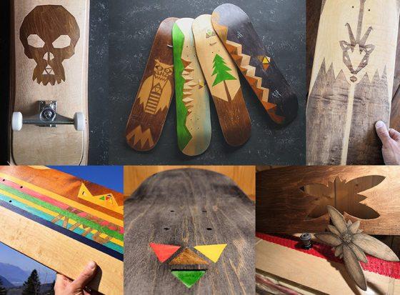Skateboard longboard cruiser, en bois, graphisme intégré dans le bois et inusable. Skateboards sur mesure.
